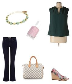 Spring is in session! Casual but chic! by cathychan-2 on Polyvore featuring polyvore, fashion, style, Banana Republic, Levi's, TOMS, Louis Vuitton, Alex and Ani, Essie and clothing