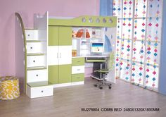 Cool Kids Bunk Bed Ideas For Boys And Girls Room : Light Green and White Cool Kids Bunk Bed Decoration with Study Area and Small Closet Unde...