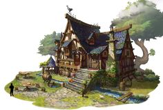 ArtStation Medieval house Kyungsup Sin Minecraft medieval house Medieval houses Fantasy concept art