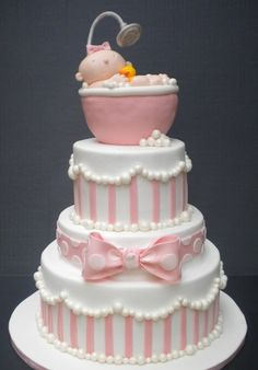 Baby Girl Cake - Elegant Stacked Cake with Baby in Tub