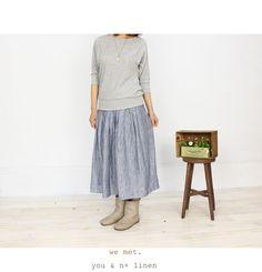 -linen chambray long skirt-  ◆リネン100%色むらシャンブレープリーツスカート◆