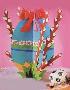 Osterhandwerk - Ei mit Weidenzweigen :: A . Easter Crafts For Kids, Fun Crafts, Diy And Crafts, Arts And Crafts, Paper Crafts, Savannah Craft, Rena, Diy Ostern, Easter Party
