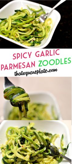 Spicy Garlic Parmesan Zoodles {Zucchini Noodles} -- You can adjust the heat. Simple weeknight side or light meal. #Recipe from www.thatsquareplate.com