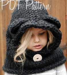 Knitting PATTERN-The Burton Bear Cowl (6/12 month - 12/18 month - Toddler - Adult sizes). $5.50, via Etsy.