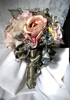 pink brooch bridal bouquet by etsy shop barbie's vintage