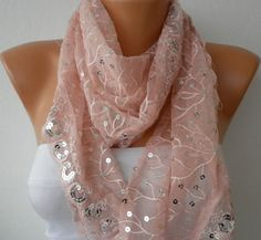 Pink Lace Sequin  Scarf    Headband Necklace Cowl with by fatwoman