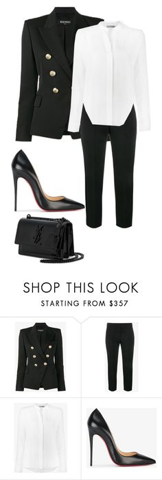 """All work"" by allyse-sympson ❤ liked on Polyvore featuring Balmain, Alexander McQueen, Vince, Christian Louboutin and Yves Saint Laurent"