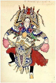 Costume design by Alexandre Benois for Le Rossignol, 1914 Chinese Dance, Chinese Opera, Cinema Theatre, Russian Ballet, Islamic Art Calligraphy, T Art, Art World, Asian Art, Costume Design