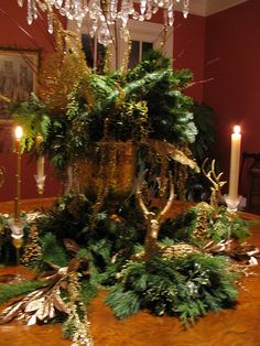 GREENS AND GOLDS ,DEER, CANDLES MAKE A WONDERFUL CENTERPIECE | Flickr - Photo Sharing!