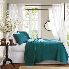 decorate with the blue and teal shades of the caribbean seas and brigh, home decor, reupholster, window treatments, Hampton Hill Coverlet Set Source The Home Decorating Co