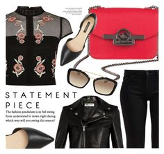 """""""Hints Of Red"""" by mezzanotteofficial ❤ liked on Polyvore featuring River Island, 7 For All Mankind, Ava & Aiden, Yves Saint Laurent, black and red"""