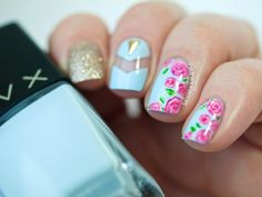 Polishers Inc. All Time Favorite – Floral Nail Art with Triangular Stud Accent