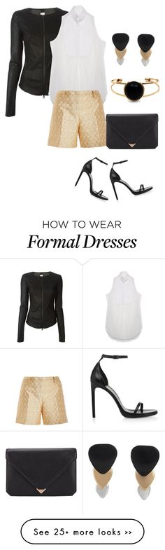 """Formal fun in gold and black"" by nudge-v on Polyvore featuring ISABEL BENENATO, COSTUME NATIONAL, N°21, Marc by Marc Jacobs, Yves Saint Laurent and Alexander Wang"