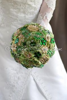 Emerald Sky golden green wedding brooch bouquet - Ruby Blooms