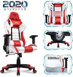 Furgle Office Gaming Chair Racing Style High-Back Office Chair w//4D Adjustable Armrests PU Leather Executive Ergonomic Swivel Video Game Chairs with Rocking Mode Black /& Red