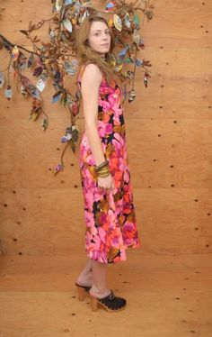 d52597b39a5 Vintage 60 s 70 s pink floral midi maxi dress hawaiian style pink black  empire waist tropical vibes