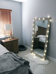 Bedroom decore ideas. #White #Mirror #Lights #master bedroom #Wall #mirror #Floor #mirror Dream bedroom!