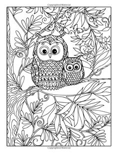Coloring book for adult and older children Coloring page with lovely mother owl and her small owlet in the garden Owl Coloring Pages, Printable Adult Coloring Pages, Coloring Sheets, Coloring Books, Free Adult Coloring, Owl Patterns, Owl Art, Doodle Art, Zentangle