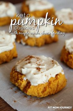 Softer than a regular sugar cookie, my Keto Pumpkin Cookies with Maple Cream Cheese Frosting are even more delicious. Softer than a regular sugar cookie, my Keto Pumpkin Cookies with Maple Cream Cheese Frosting are even more delicious. Keto Desserts, Keto Friendly Desserts, Sugar Free Desserts, Keto Snacks, Dessert Recipes, Keto Foods, Keto Meal, Healthy Foods, Pumpkin Cookies