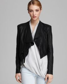 HELMUT Helmut Lang Jacket - Washed Leather Cropped  Bloomingdale's