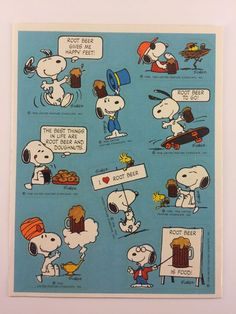Hallmark *Rare* Vintage Snoopy Peanuts Root Beer Scratch And Sniff Stickers 80s #ScratchSniff