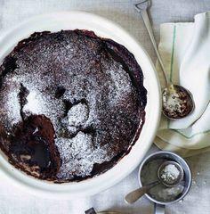 Self-saucing chocolate and almond milk pudding - christmas dessert