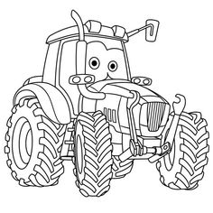 Cartoon Tractor Coloring Pages Tractor Coloring Pages, Batman Coloring Pages, Kids Printable Coloring Pages, Cute Coloring Pages, Coloring Pages For Kids, Adult Coloring, Coloring Books, Detailed Coloring Pages, Cartoons