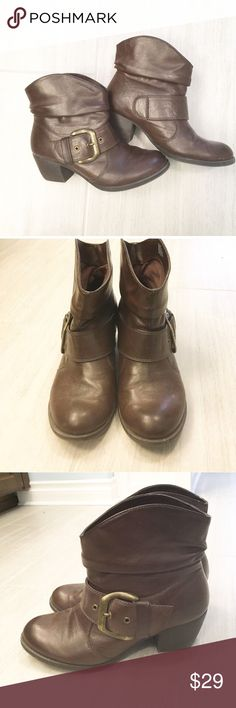 Mia Girl brown boots with gold toned buckles Mia girl size 8.5 boots with gold toned buckle. Excellent condition! Only worn a handful of times. MIA Shoes