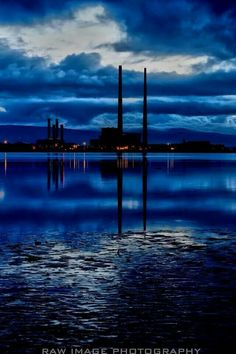 Dublin's chimneys by night.