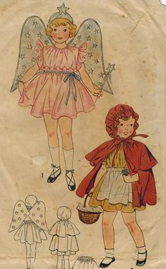 1930s Simplicity 1878 Vintage Sewing Pattern Child's Costume Angel Little Red Riding Hood Size 4