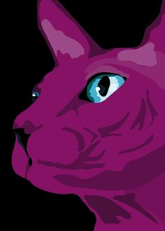 Purple Sphynks Cat print 9 x 125 by animalsincolor on Etsy, $16.00