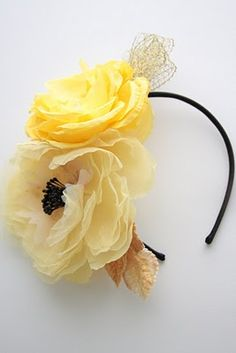 Millinery Flowers on Headband by Twigs and Honey #millinery #judithm #flower