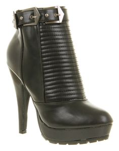 Womens Office Naughty Biker Black Patent Leather High Heel Ankle Boots