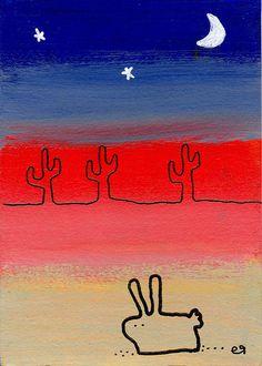 desert bunny not a carrot in sight e9Art ACEO Rabbit Art Painting Cartoon Illustration