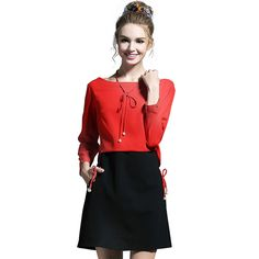 L- 5XL Back Open   Dress Fall  Red And Black Patchwork Tie Detail  Short  High Quality Like if you remember Get it here