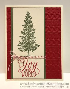 2016 QE Christmas Week 5 card featuring the Lovely As a Tree and Tin of Tags stamp set along with the Cable Knit dynamic texture impressions folder by Stampin' Up!
