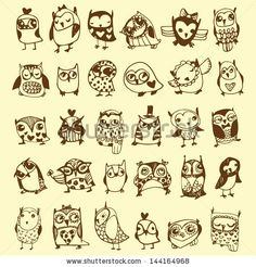 Cute little owls....line drawing tattoo ideas