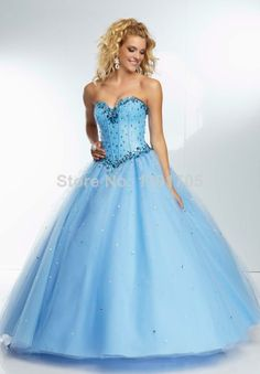 Free shipping Elegant  Blue Strapless Beaded Prom dress 2014 Ball Gown Floor Length Evening Gowns 2014 New Fashion $119.00