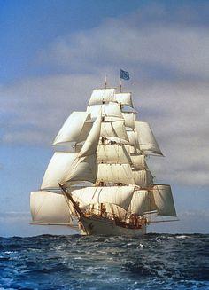 """""""Europa"""", sinds 1994 zwerft tall ship 'bark EUROPA' over de oceanen. Een (reis)bemanning van alle leeftijden en verschillende nationaliteiten varen het schip."""
