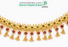 22 Karat Gold Ruby & emerald Necklace & ear hangings - Indian Gold Jewelry from Totaram Jewelers Gold Jewelry Simple, 14k Gold Jewelry, Gold Jewellery Design, Diamond Jewelry, Gold Ruby Necklace, Drop Earrings, Gold Choker, Short Necklace, Gold Earrings Designs