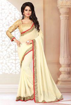 #Cream #Georgette #Traditional #Plain #Pallu #Sari #nikvik  #usa #designer #australia #canada #freeshipping #sari