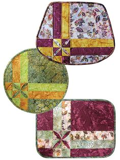 """Super-easy and quick-to-stitch place mats.   Start with a set of precut place mats, stir in a focus fabric, and sprinkle in some accent fabrics to whip up a fun batch of picture-perfect place mats in no time! Each place mat is suitable for precut mats (shown below) that measure a maximum of 18"""" x 16"""". Directional prints are not recommended."""
