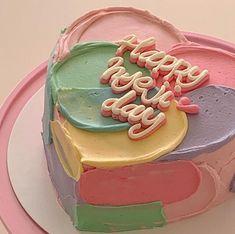 Pretty Birthday Cakes, Pretty Cakes, Cake Birthday, Funny Birthday Cakes, Happy Birthday, Cute Desserts, Dessert Recipes, Kreative Desserts, Korean Cake