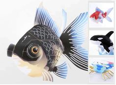 Black goldfish and other animal papercrafts and model at epson