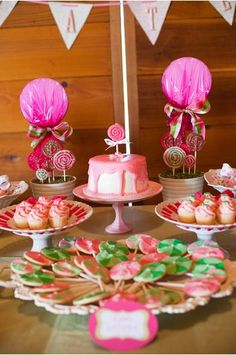 A yummy dessert bar from a lollipop themed 1st Birthday Party.
