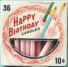 Birthday candles.  They were put on a white, angel food cake with white icing.  Sometimes there were sugar flowers on the cake as well.