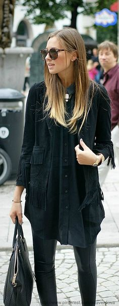 Street style - leather leggings