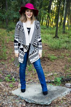 Desert Nights Sweater - Warm and snuggly Aztec print sweater cardigan.