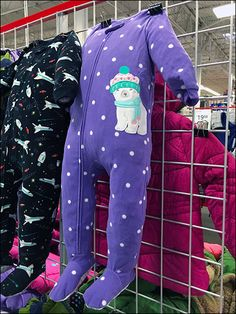 The cold weather typically has arrived by Thanksgiving, so time to visual merchandise warm winter Pajamas for toddlers in store. Stuffing the PJs gives lifelike proportions to the merchandise itsel...