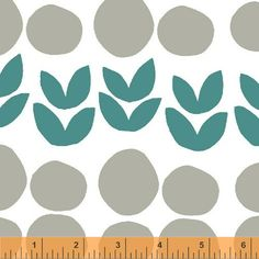 Bella Leaves in Teal Fabric by Lotta Jansdotter for by FabricBubb